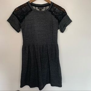Topshop Lace Sleeve Panel Fit & Flare Dress Sz 2
